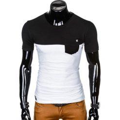 T-shirty męskie: T-SHIRT MĘSKI BEZ NADRUKU S1014 - CZARNY/BIAŁY