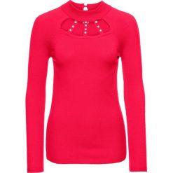 Sweter z aplikacją z perełek i wycięciami bonprix czerwony. Czerwone swetry klasyczne damskie marki bonprix, na zimę. Za 99,99 zł.