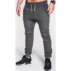 SPODNIE MĘSKIE DRESOWE P163 - GRAFITOWE. Szare spodnie dresowe męskie Ombre Clothing, z bawełny. Za 35,00 zł.