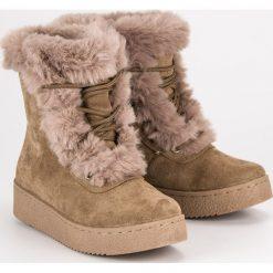 Buty zimowe damskie: BRĄZOWE WIĄZANE ŚNIEGOWCE
