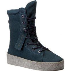 Botki BRONX - 46995-C BX 1418 Blue/Grey 570. Niebieskie botki damskie skórzane marki Bronx. W wyprzedaży za 309,00 zł.