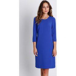 Sukienki: Szafirowa sukienka z podszewką i rękawem 3/4 BIALCON