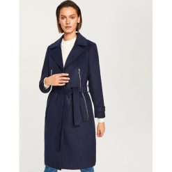 Płaszcz z domieszką wełny - Granatowy. Niebieskie płaszcze damskie pastelowe Reserved, z wełny. Za 249,99 zł.