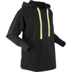 Bluza z kapturem oversize, długi rękaw, z kolekcji Maite Kelly bonprix czarny. Czarne bluzy rozpinane damskie bonprix, z długim rękawem, długie, z kapturem. Za 89,99 zł.