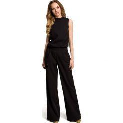 Odzież damska: Czarny Elegancki Kombinezon z Wysokim Kołnierzem