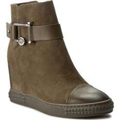 Botki CARINII - B3563 I45-I43-PSK-B88. Zielone buty zimowe damskie Carinii, z materiału. W wyprzedaży za 229,00 zł.