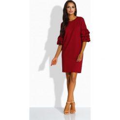 Sukienki: Luźna sukienka w stylu hiszpańskim bordo