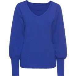 Sweter z balonowymi rękawami bonprix szafirowy. Niebieskie swetry klasyczne damskie bonprix, na wiosnę. Za 89,99 zł.