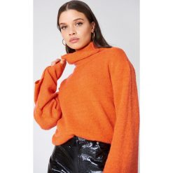 NA-KD Dzianinowy sweter z golfem i szerokim rękawem - Orange. Pomarańczowe golfy damskie marki NA-KD, z dzianiny. W wyprzedaży za 80,98 zł.