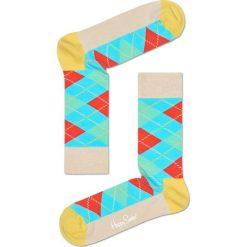 Happy Socks - Skarpetki Argyle. Szare skarpetki damskie Happy Socks, z bawełny. W wyprzedaży za 29,90 zł.