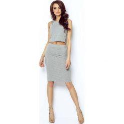 Odzież damska: Szara Spódnica Ołówkowa Bodycon Midi