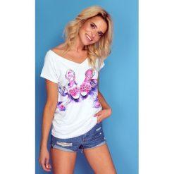 Bluzka t-shirt z nadrukiem k123. Białe bluzki damskie Knitis, m, z nadrukiem, z dzianiny, klasyczne, z klasycznym kołnierzykiem, z krótkim rękawem. W wyprzedaży za 49,00 zł.