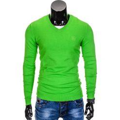 Swetry klasyczne męskie: SWETER MĘSKI E74 – ZIELONY
