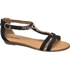 Sandały damskie Graceland czarne. Czarne sandały damskie marki Graceland, w kolorowe wzory, z materiału. Za 89,90 zł.