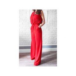 Kombinezony damskie: Czerwony kombinezon damski z szerokimi nogawkami