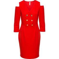 Sukienka z wycięciami bonprix truskawkowy. Czerwone sukienki balowe marki bonprix. Za 59,99 zł.
