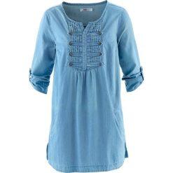 Bluzki damskie: Bluzka, krótki rękaw bonprix niebieski bleached