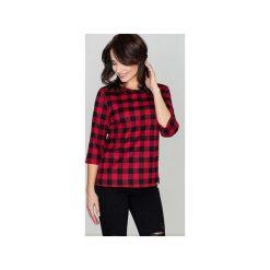 Bluzka K261 Czarny-Czerwony. Czarne bluzki damskie marki Lenitif, xl, w kratkę, z tkaniny, z dekoltem na plecach. Za 89,00 zł.