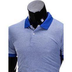 KOSZULKA MĘSKA POLO BEZ NADRUKU S847 - NIEBIESKA. Czarne koszulki polo marki Ombre Clothing, m, z bawełny, z kapturem. Za 35,00 zł.