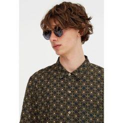 Koszule męskie na spinki: Czarna wzorzysta koszula z krótkim rękawem