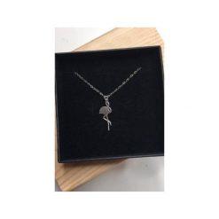 Naszyjniki damskie: Srebrny pozłacany naszyjnik z flamingiem