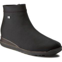 Botki RIEKER - 98251-00 Black. Czarne buty zimowe damskie marki Kazar, ze skóry, na wysokim obcasie, na sznurówki. W wyprzedaży za 189,00 zł.