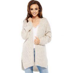 Sweter kardigan z splotem ls211. Niebieskie kardigany damskie marki SaF, na co dzień, xl, z żakardem, z asymetrycznym kołnierzem, dopasowane. W wyprzedaży za 129,00 zł.