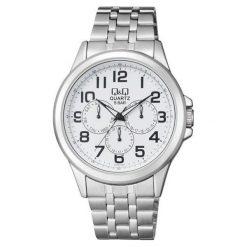 Biżuteria i zegarki męskie: Zegarek Q&Q Męski CE00-204 Klasyczny MultiData srebrny
