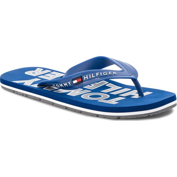 af6848f3a1705 Japonki TOMMY HILFIGER - Sporty Beach Sandal FM0FM01673 Monaco Blue 408 -  Niebieskie sandały męskie TOMMY HILFIGER, bez wzorów, z tworzywa sztucznego.