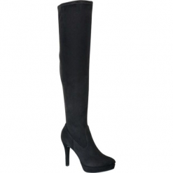 Kozaki za kolano Graceland czarne. Czarne buty zimowe damskie Graceland, z materiału, przed kolano, na wysokim obcasie, na obcasie. Za 159,90 zł.
