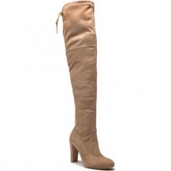Muszkieterki R.POLAŃSKI - 0961 Beżowy Zamsz. Brązowe buty zimowe damskie marki Kazar, ze skóry, przed kolano, na wysokim obcasie. Za 289,00 zł.