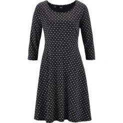 Sukienka, rękawy 3/4 bonprix czarno-biały z nadrukiem. Białe sukienki z falbanami marki bonprix, z nadrukiem, z bawełny. Za 49,99 zł.