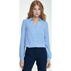 Bielizna damska: Błękitna Koszula z Niebanalnym Kołnierzykiem
