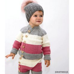 Swetry dziewczęce: Sweter Tricolor Merynos Dziecięcy