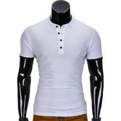 KOSZULKA MĘSKA POLO BEZ NADRUKU S848 - BIAŁA. Czarne koszulki polo marki Ombre Clothing, m, z bawełny, z kapturem. Za 39,00 zł.
