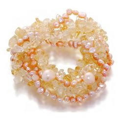 Bransoletki damskie: Bransoletka z perłami i kamieniami - (D)20 cm