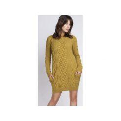 Tunika z kieszeniami, SWE090 żółty MKM. Żółte tuniki damskie z długim rękawem Mkm swetry, l, z dzianiny. Za 143,00 zł.