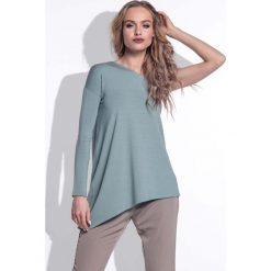 Bluzki damskie: Oliwkowa Asymetryczna Bluzka na Jedno Ramię