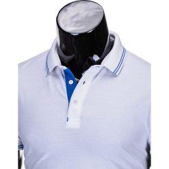 KOSZULKA MĘSKA POLO BEZ NADRUKU S666 - BIAŁA. Białe koszulki polo Ombre Clothing, m, z nadrukiem, z bawełny. Za 45,00 zł.
