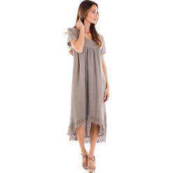 Sukienki: Lniana sukienka w kolorze szarobrązowym