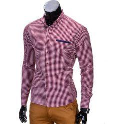 KOSZULA MĘSKA W KRATĘ Z DŁUGIM RĘKAWEM K319 - CZERWONA. Brązowe koszule męskie na spinki marki Ombre Clothing, m, z aplikacjami, z kontrastowym kołnierzykiem, z długim rękawem. Za 59,00 zł.