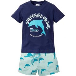 T-shirt + szorty (2 części) bonprix kobaltowo-jasny miętowy. Niebieskie spodenki chłopięce bonprix, na lato, z nadrukiem, z dresówki. Za 16,99 zł.
