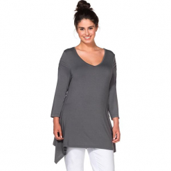 Koszulka w kolorze antracytowym. Szare t-shirty damskie Sheego, z asymetrycznym kołnierzem. W wyprzedaży za 56,95 zł.