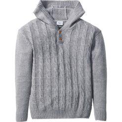 Miękki sweter dzianinowy z kapturem bonprix jasnoszary melanż. Zielone swetry chłopięce marki bonprix, w kropki, z kopertowym dekoltem, kopertowe. Za 69,99 zł.