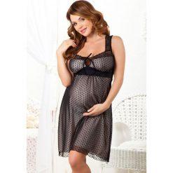 Koszula nocna dla ciężarnych i karmiących Letizia. Czarne bielizna ciążowa Astratex, w koronkowe wzory, z koronki, moda ciążowa. Za 174,99 zł.