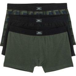 Bokserki (3 pary) bonprix ciemnozielony w kratę + czarny + ciemnozielony. Zielone bokserki męskie bonprix. Za 50,97 zł.