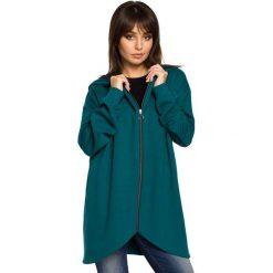 Bluzy damskie: Zielona Bluza Asymetryczna z Kapturem