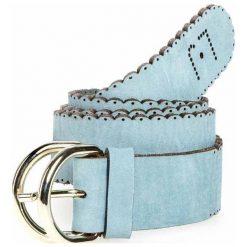 Pasek LIU JO - A14319 P0124 Sterling Blue Sm 09V22. Niebieskie paski damskie marki Liu Jo, w paski, ze skóry. W wyprzedaży za 199,00 zł.