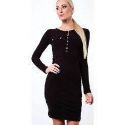 Sukienka ze złotymi guzikami czarna 1545. Czarne sukienki marki Fasardi, l. Za 49,00 zł.