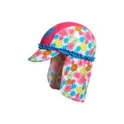Playshoes  Czapka Kwiatki pink. Różowe czapeczki niemowlęce marki Playshoes, w kwiaty, z elastanu. Za 55,00 zł.